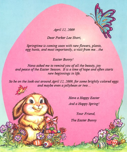 Letter from the easter bunny debbie 39 s little books for Letter to easter bunny template
